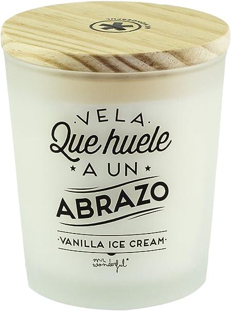 Mr. Wonderful Vela huele a un Abrazo-Vanilla Ice Cream Aroma Vainilla, 10x10x10: Amazon.es: Hogar