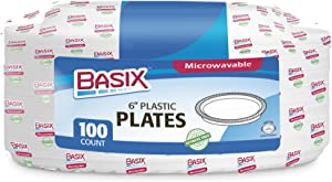 Basix 100 Count Disposable Plastic Plates Microwave Safe 6-Inch, White