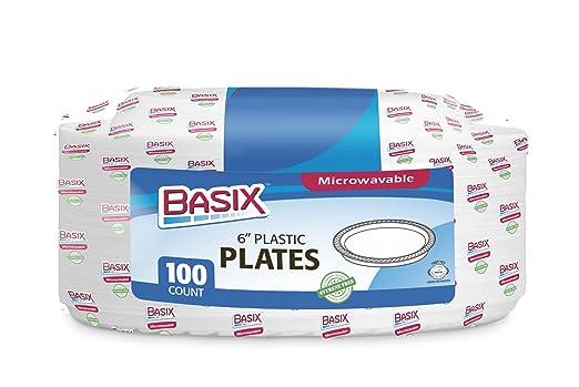 Basix 100 Count platos desechables de plástico se puede usar ...