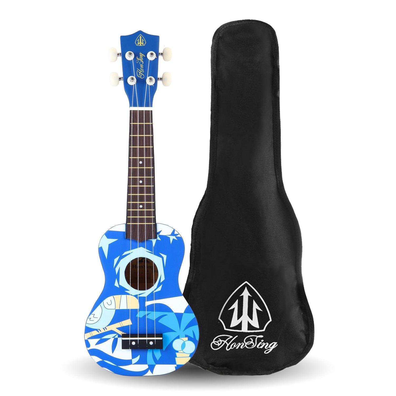 Honsing Soprano Ukulele With Gig Bag New Basswood Soprano Uke Hawaii kids Guitar 21''- Blue Pattern matte finish