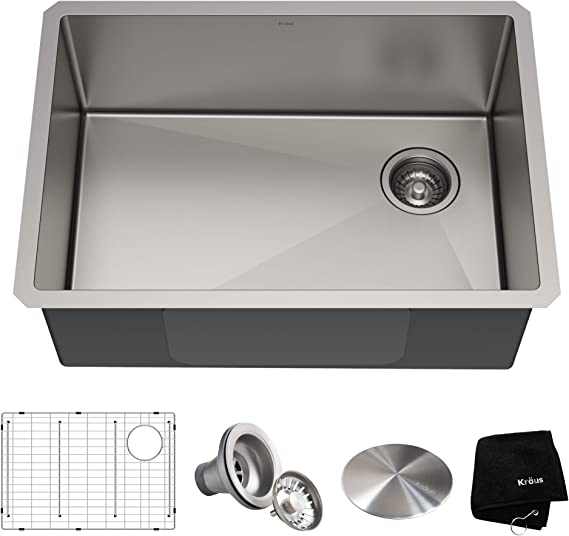 Kraus Khu110 27 Standart Pro 27 Inch 16 Gauge Undermount Single Bowl Set 5 Item Bundle Sink Bottom Grid Assembly Drain Cap Kitchen Towel 27 Inch Stainless Steel Amazon Com