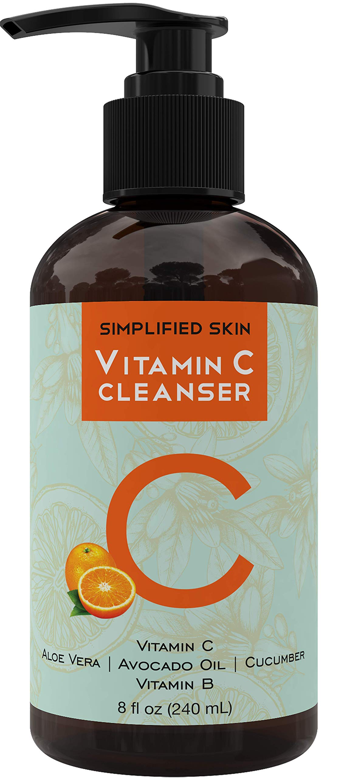 Vitamin C Facial Cleanser (8 oz) Gel for Daily Anti-Aging & Acne Treatment. Clear Pores on Oily, Dry & Sensitive Skin. Best Natural Makeup Removing Face Wash by Simplified Skin by Simplified Skin
