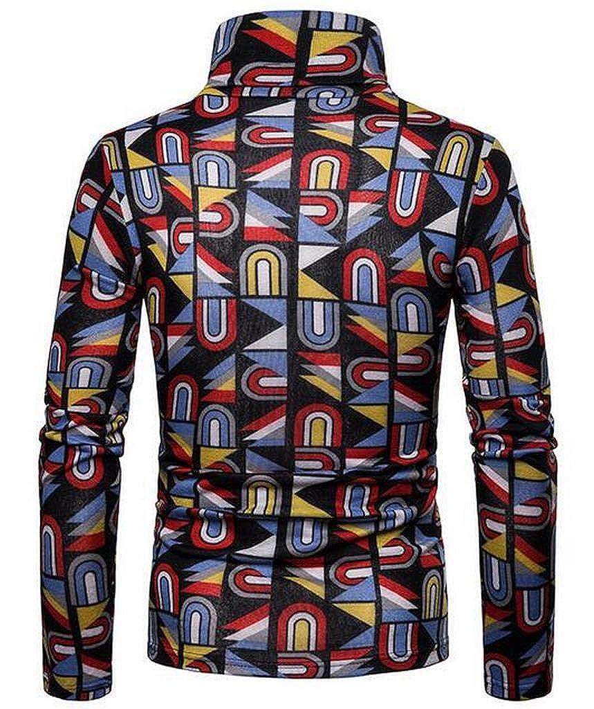 Jofemuho Mens Fall Winter Thermal Print Turtleneck Long Sleeve T-Shirt Tee Top