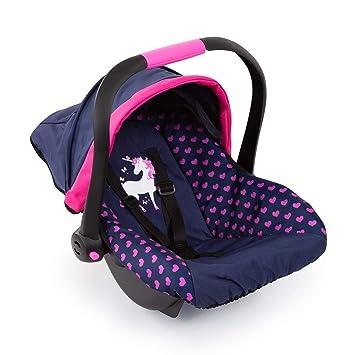 Bayer Design Silla de Coche Easy Go, Accesorios, Asiento para bebé de Muñecas, Color Azul con Motivo de corazón y Unicornio 67954AA