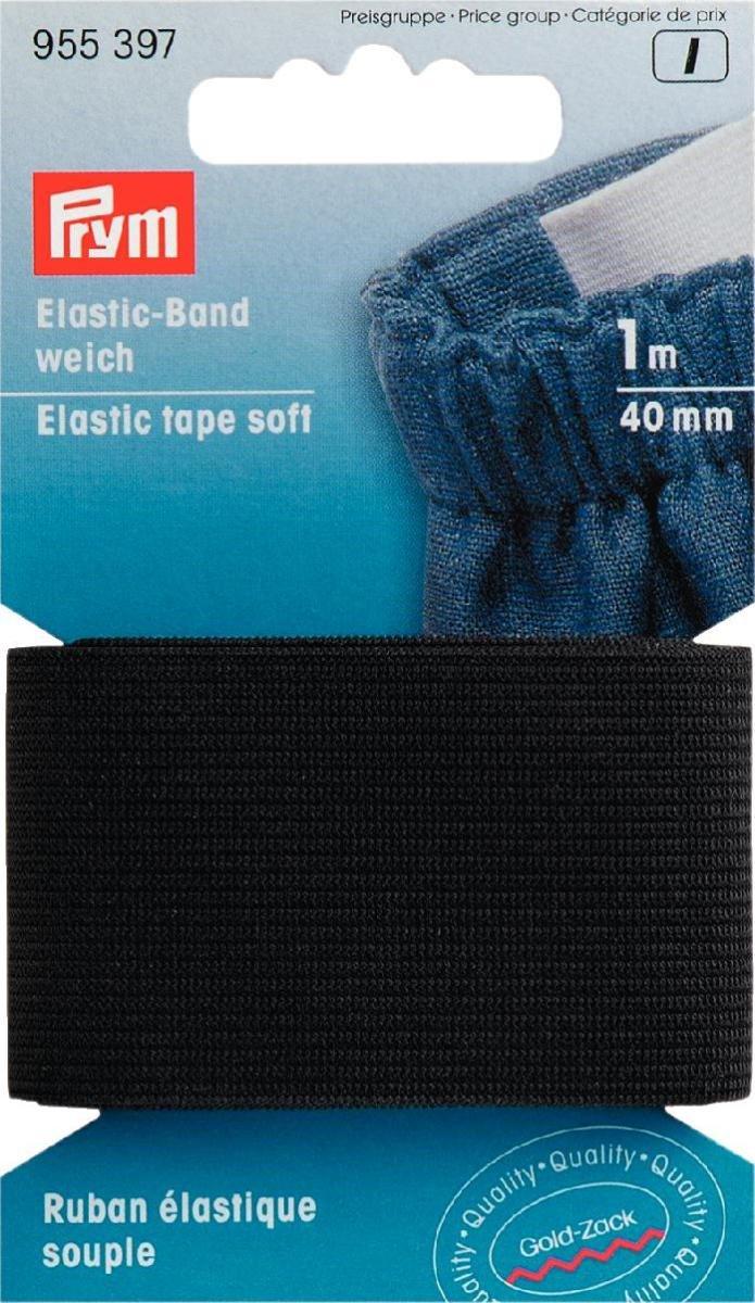 Nastro elastico, Gold Zack, nero, 40mm, L.: 1m, Prym
