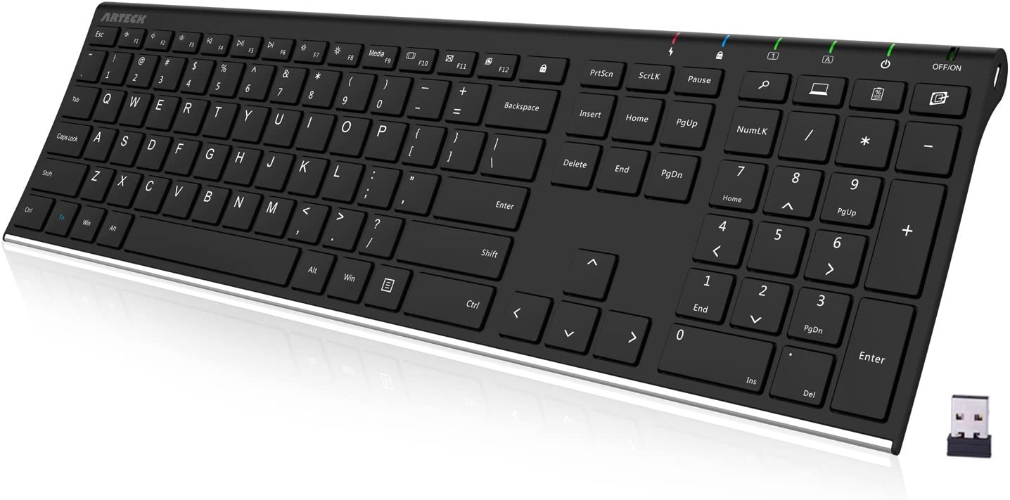 Arteck 2.4G Wireless Keyboard Stainless Steel Ultra Slim Full Size Keyboard with Numeric Keypad for Computer/Desktop/PC/Laptop/Surface/Smart TV and Windows 10/8/ 7 Built in Rechargeable Battery: Electronics