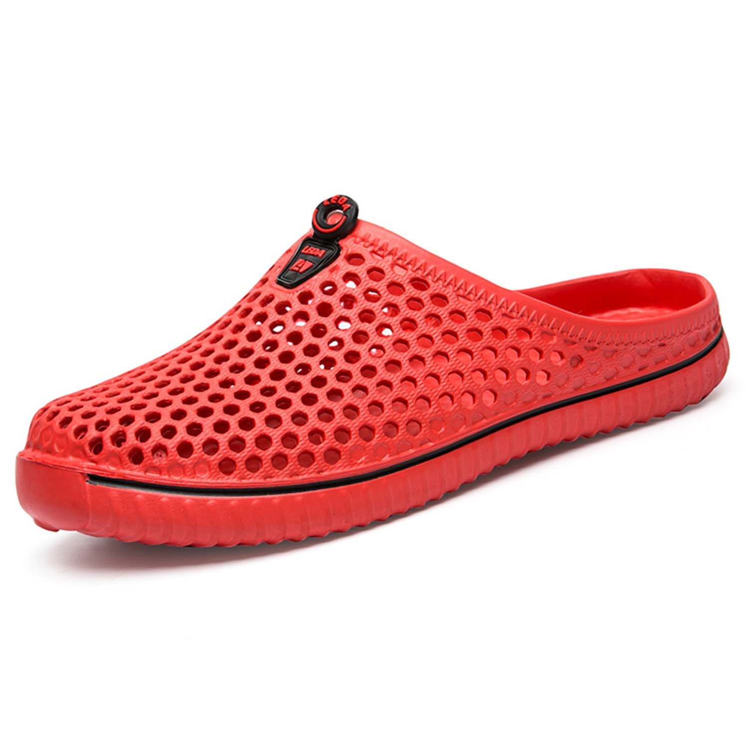 PHILDA Garden Clogs Water Shoes Quick Dry Mesh Sandals Breathable Mule Beach Sport Indoor Outdoor Shower Slippers for Men Women Red 42