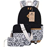 Canvas Backpack School Bags Set for Teens Girls, Casual Daypack + Shoulder Bag + Pencil Case (Black)