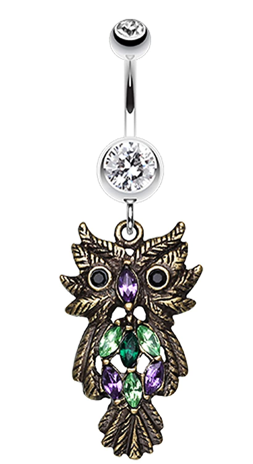 Whimsical Owl Sparkle Belly Button Ring - Bronze Sold Individually 1.6mm 14 GA