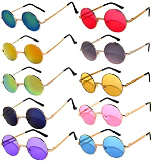 b8b01005f6 10 Pack Round Retro Vintage Circle Style Sunglasses Colored Small Metal  Frame