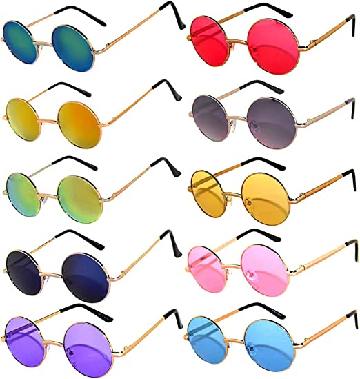 Green Metal Round Frame Sunglasses Mirror Mirrored Fashion Designer Mens Womens