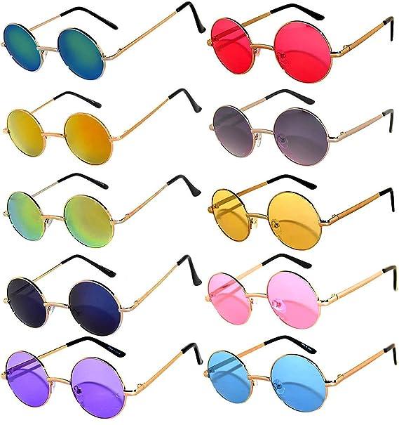 Amazon.com: Pack de 10 gafas de sol redondas retro vintage ...