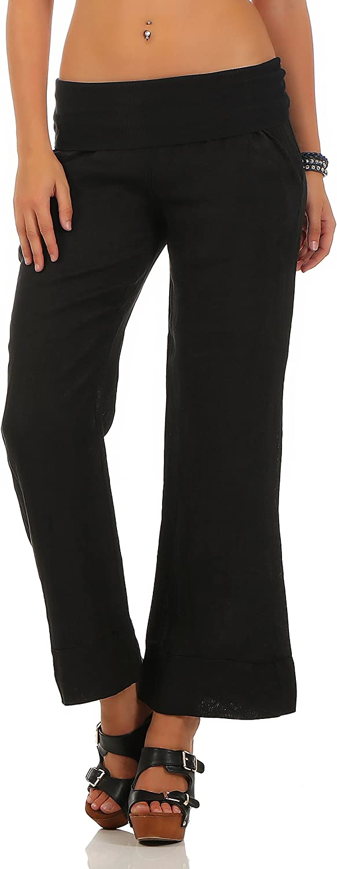 Malito Pantalones de Lino Estilo Cl/ásico Pantalones de Verano 8076 Mujer