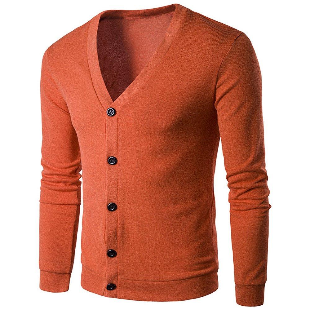 kingf Mens Button V Neck Knit Sweater Cardigan Jacket Knitwear Warm-up Sweatshirt