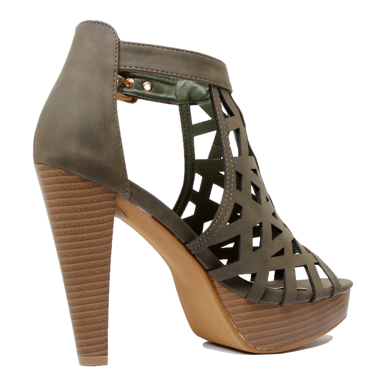 deefb73d7841b Guilty Shoes Cutout Gladiator Ankle Strap Platform Fashion High Heel Sandals