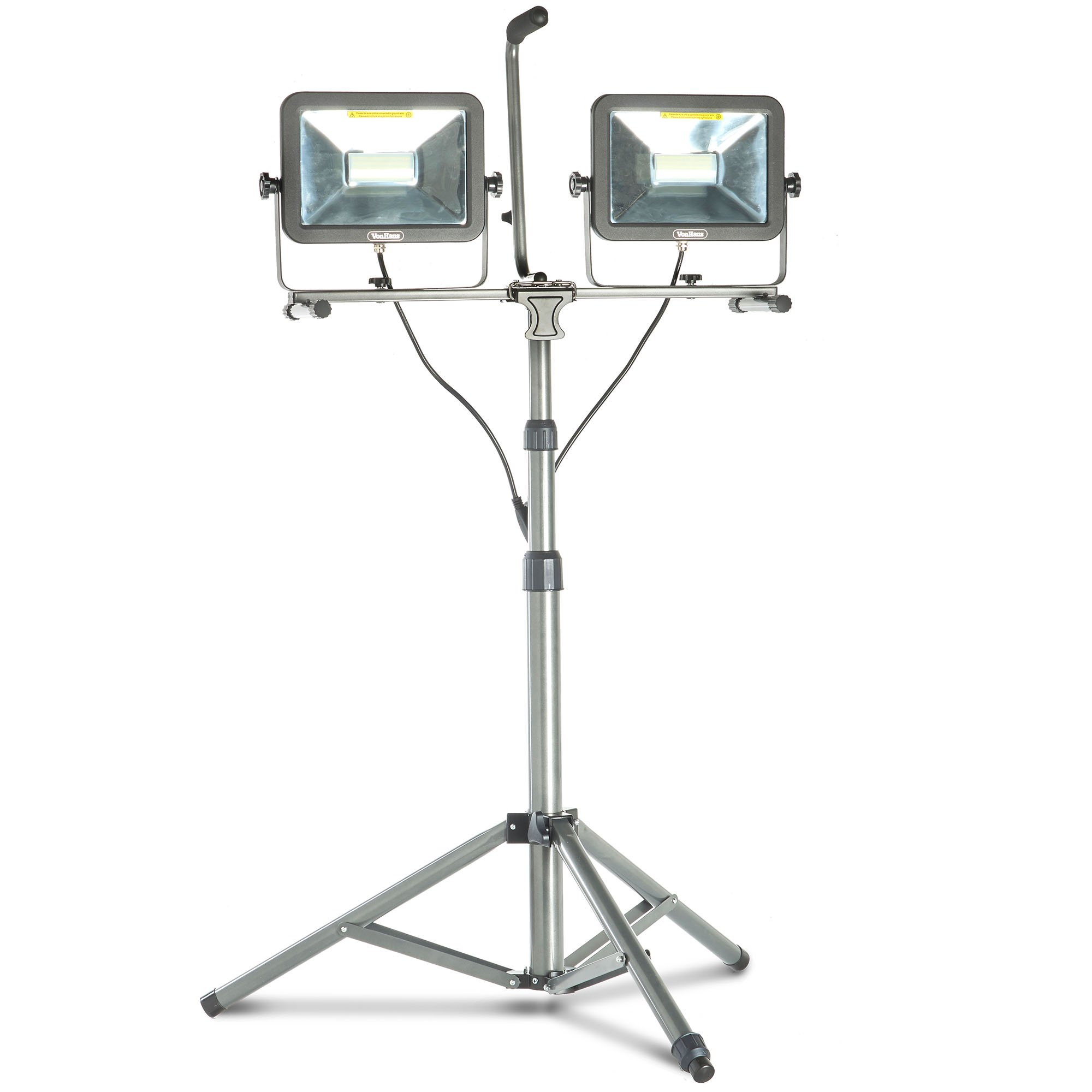 VonHaus Two-Head 10000 Lumen LED Work Light with Detachable Metal Lamp Housing, Metal Telescopic Tripod Stand, Rotating Waterproof Lamps and 8.2Ft Power Cord by VonHaus