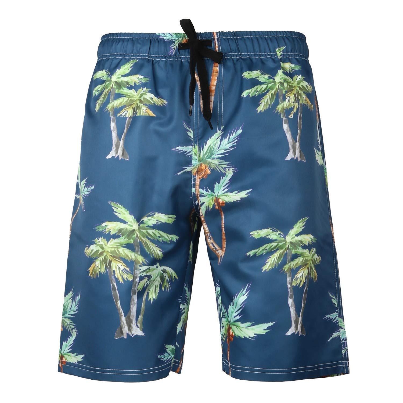 Xmiral Hose Herren Hawaii-Stil Gedruckte Kordelzug Elastische Taille Strandhosen