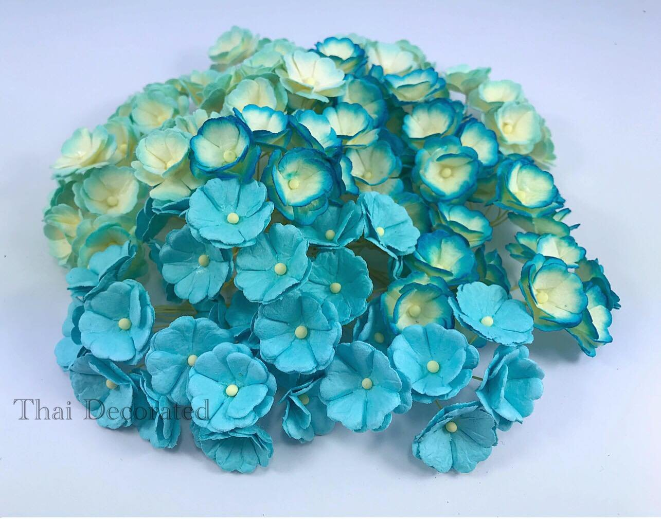 100 pcs. Blossom Flower Blue Tone Mulberry Paper Flower 20-25 mm Scrapbooking Wedding Doll House Supplies Card by' Thai Decorated by Thai Decorated