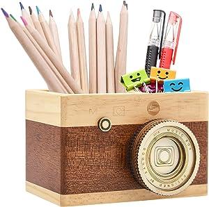 Zakka Camera Wooden Pencil Holder Desktop Pencil Holder Vintage Camera Decor Stationary Makeup Organizer Holder for Office Home, Great Gift for Photographers (Long)