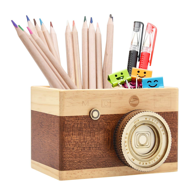 amazon com zakka camera wooden pencil holder desktop pencil holder rh amazon com desk pen holder wood desk pen holder with clock