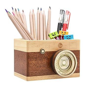 ffc6cb9d95da Zakka Camera Wooden Pencil Holder Desktop Pencil Holder Vintage Camera  Decor Stationary Makeup Organizer Holder for Office Home, Great Gift for ...
