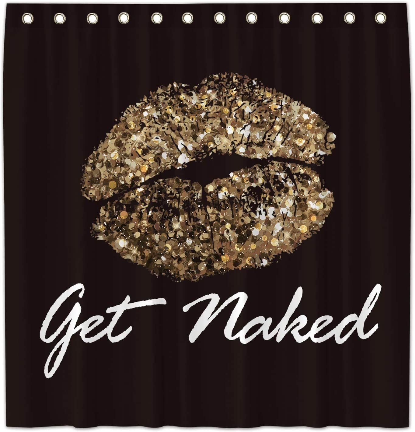 Allenjoy 72x72 Inch Golden Sexy Lips Get Naked Shower Curtains for Bathroom Sets Love Kiss Home Bath Decors Decorations Customizable Durable Waterproof Fabric Machine Washable Curtains with 12 Hooks