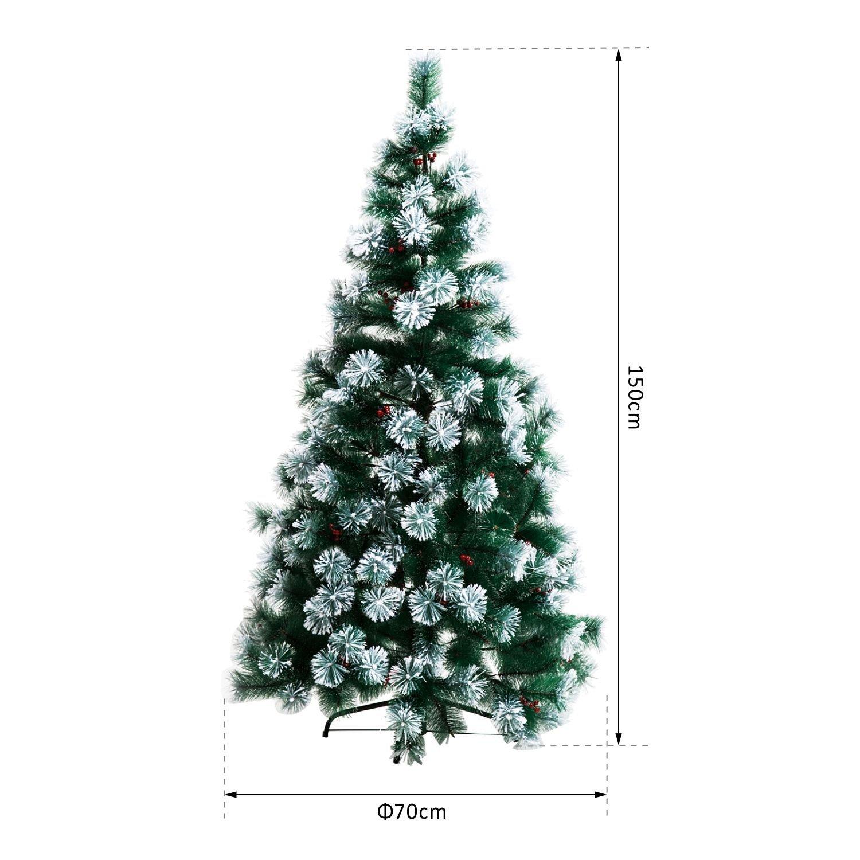 HOMCOM Indoor Christmas Tree Artificial Berry Xmas Decoration with ...