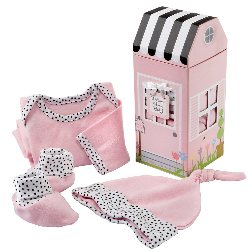 Baby Aspen Welcome Home Baby 3-Piece Layette Gift Set, Pink, 0-6 Months BA16009PK