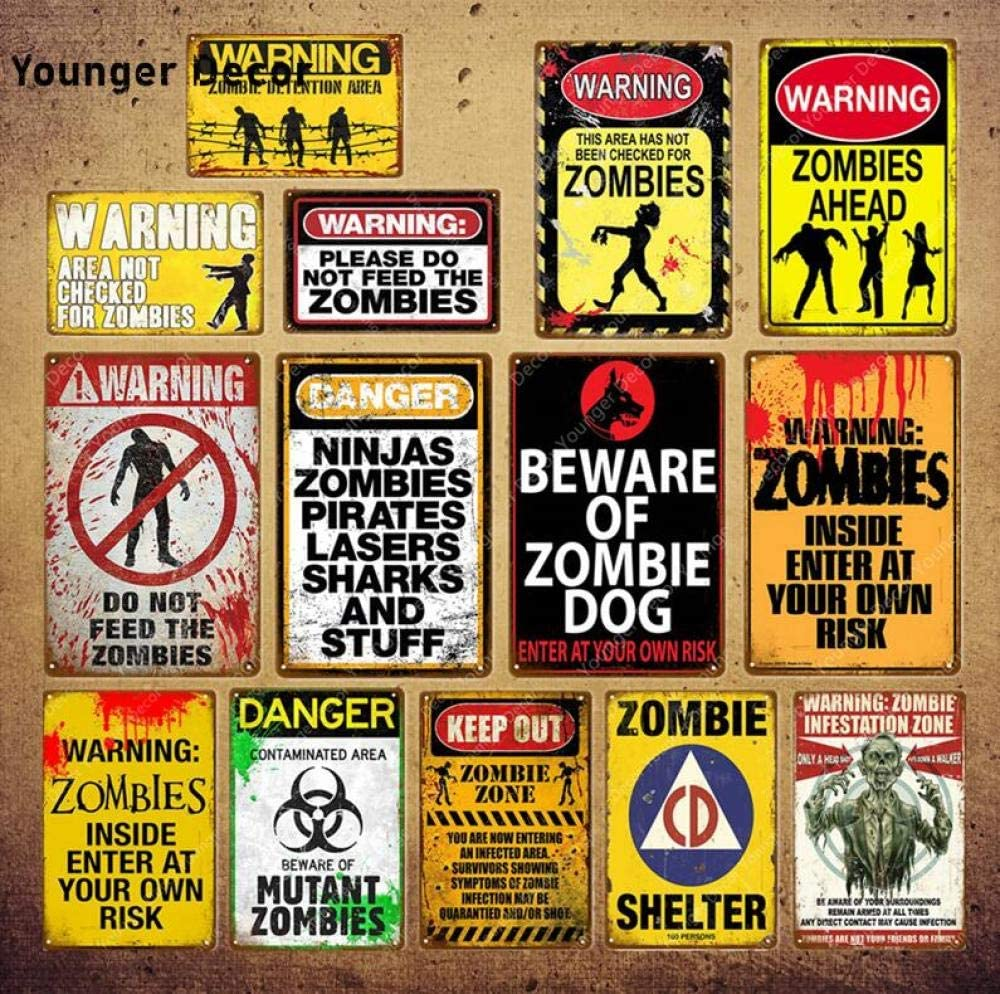 shovv Plaque en m/étal Attention Avertissement Zombie Avant Plaque Danger Gardez en M/étal Signe Vintage Affiche Mur Art Peinture Plaque Bar Pub Club Home Decor