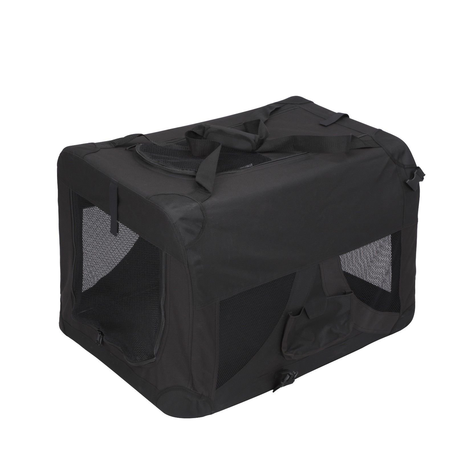 Magshion Folding Soft Crates Kennels Travel Carrier with Metal Frame, 28-Inch, for Pet Up to 40lb (Black)