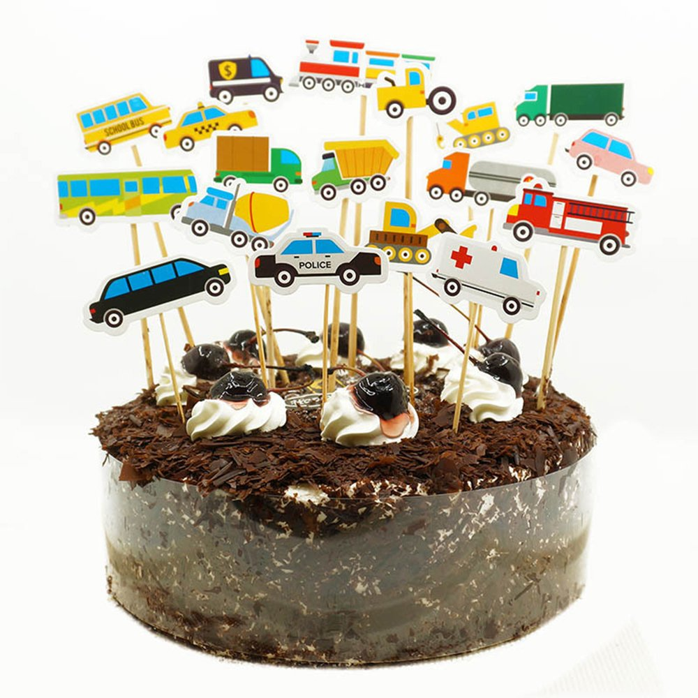 MZCH Car CupCake Topper Cake Toppers for Baby Shower Kid Birthday Party Cake Decorating Supplies, 54 Pack
