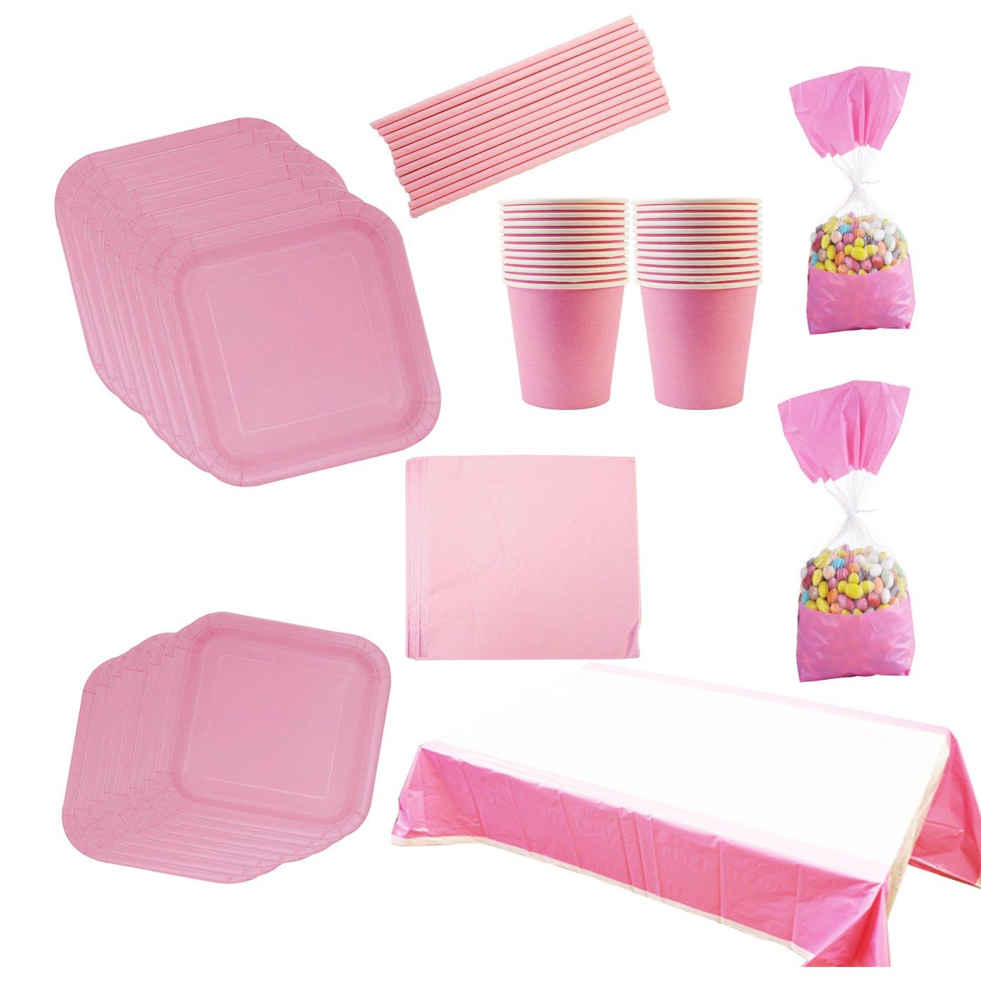 Set Articoli da 133 Pezzi con Piatti di Carta da 18cm e da 23cm,Cannucce,Tovaglioli,Bicchieri di Carta, Compleanno e Festa Per 16 Persone Colore Rosa cotigo
