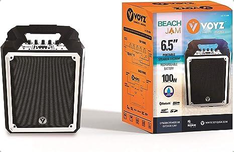 Voyz (VZ-AB6) Altavoz portátil inalámbrico Bluetooth Resistente al Agua Boombox Altavoz – Construcción Robusta 100 W Altavoz Incorporado – Batería ...