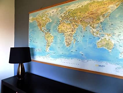 Extra Large World Map Canvas With Beech Wood Rails Not Ikea