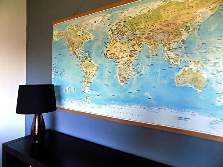 Extra Large World Map - Canvas with Beech Wood Rails (Not Ikea ...