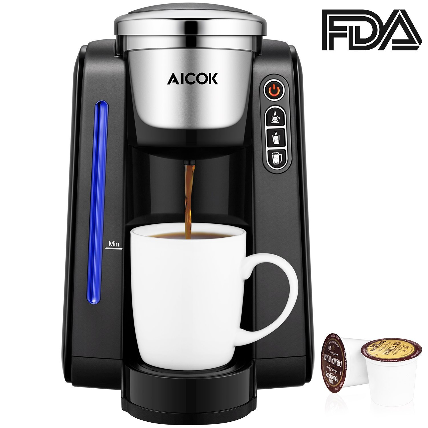 Aicok Single Serve Programmable Coffee Maker, Five Brew Sizes for Most Single Cup Pods Including K-CUP pods, 45 OZ Large Removable Water Tank, Quick Brew Technology, 1420W, Black by AICOK