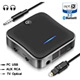 Wsiiroon Bluetooth 5.0 Transmitter Receiver, 2-in-1 Wireless aptXHD Low Latency Bluetooth Audio 3.5mm & Optical Adapter for Home/Car Stereo System (2 Devices Simultaneously)