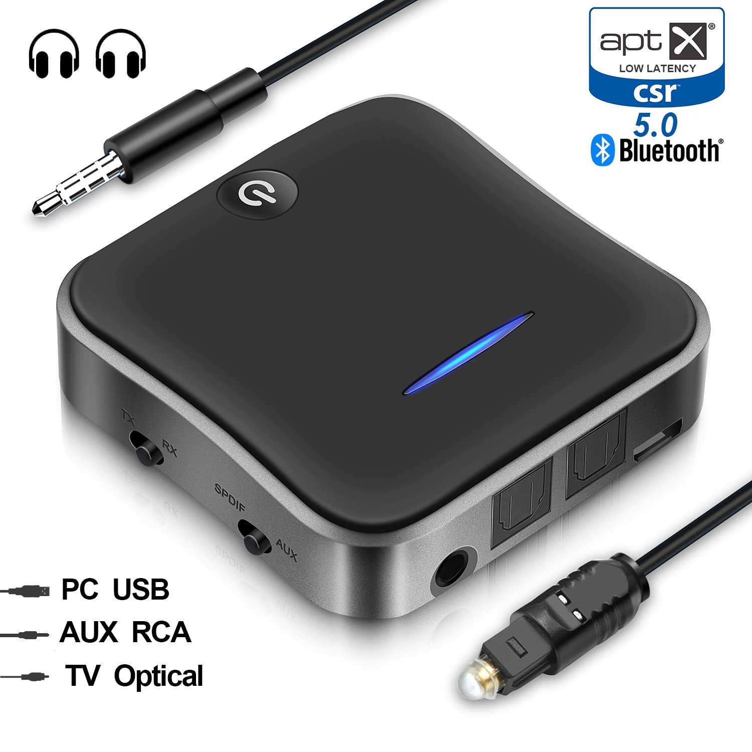 Wsiiroon Bluetooth 5.0 Transmitter Receiver, 2-in-1 Wireless aptXHD Low Latency Bluetooth Audio 3.5mm & Optical Adapter for Home/Car Stereo System (2 Devices Simultaneously) by wsiiroon