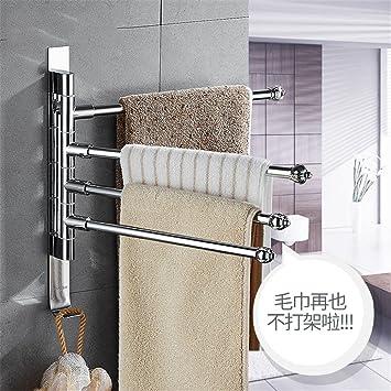 Secador de toallas rotativo sin punzón inodoro acero inoxidable toallero con barra barra de baño con doble barra colgador de toallas tres barras: Amazon.es: ...