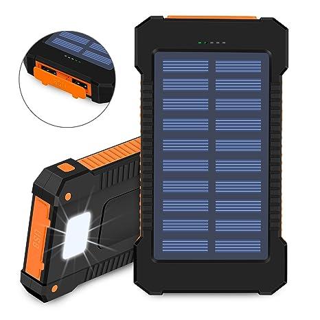 Cargador solar, 10000 mAh Solar Power Bank, Cargador de Dual USB Port resistente al polvo, resistente a golpes y impermeable Portable de teléfono con ...