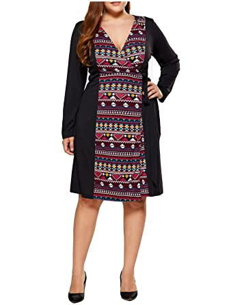 Tootless Women Long Sleeve Ethnic Style Patched Plus Size Belted