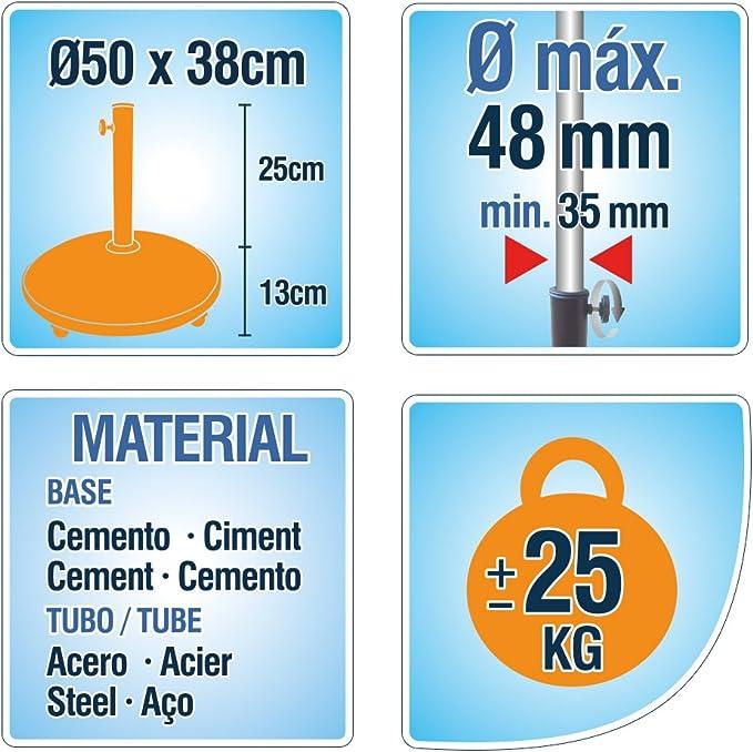 25 Kg 50 x 8 cm Soporte Parasol Cemento con Ruedas Aktive Garden 53899
