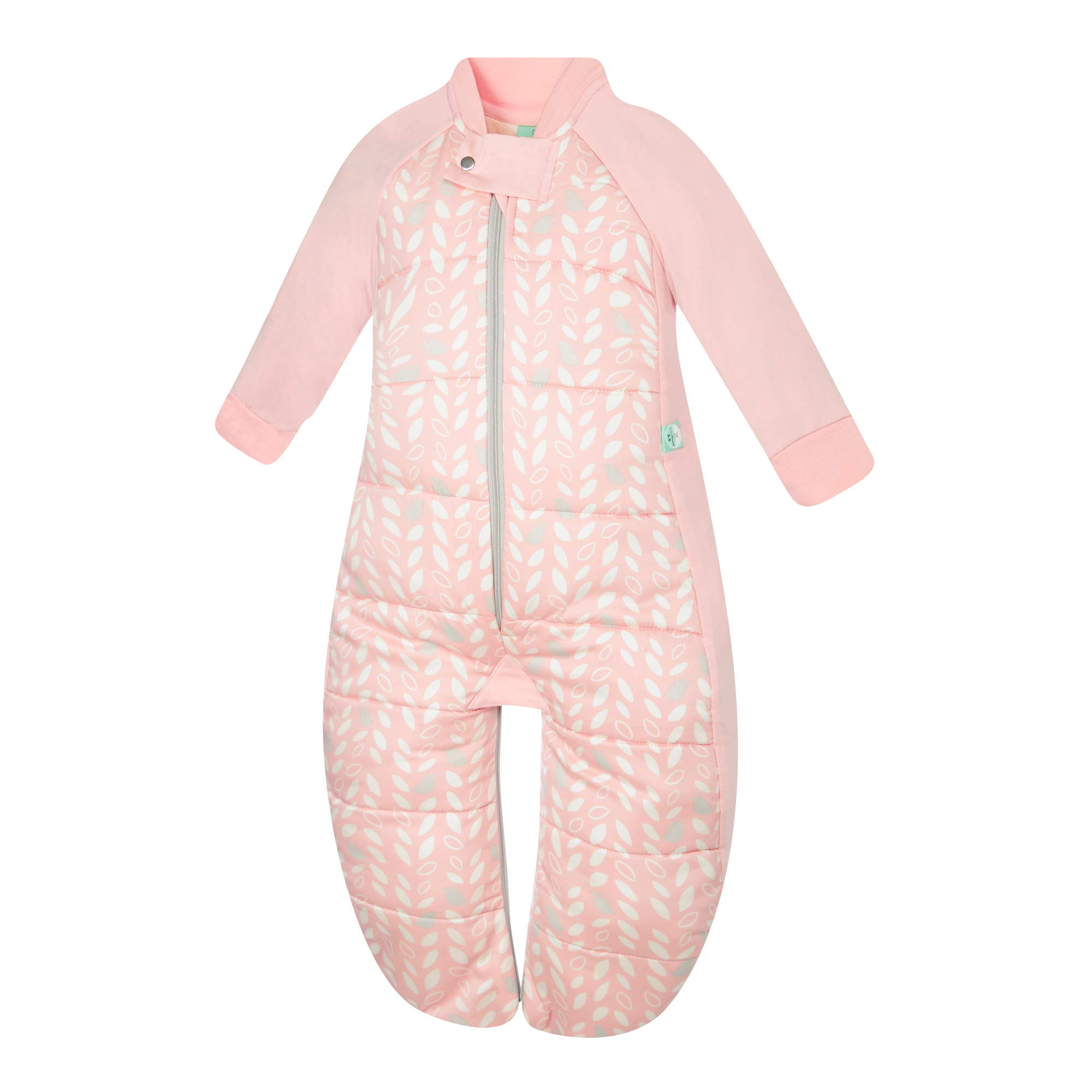 ergoPouch 3.5 TOG Sleep Suit Bag 100% organic cotton filling with cotton sleeves and fold over mitts. 2 in 1 wearable blanket sleeping bag converts to sleep suit with legs (Spring Leaves, 2-12 months) by Ergo Pouch