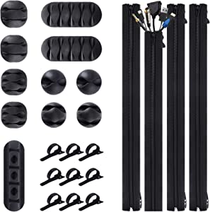 Cord Management Organizer Kit 4 Cable Sleeve with 10 Pack Self Adhesive Black Cable Clip Holders and 20 Pack Reusable Wire Fastening Cable Ties for TV Computer Office Home Wraps Wire Hider System
