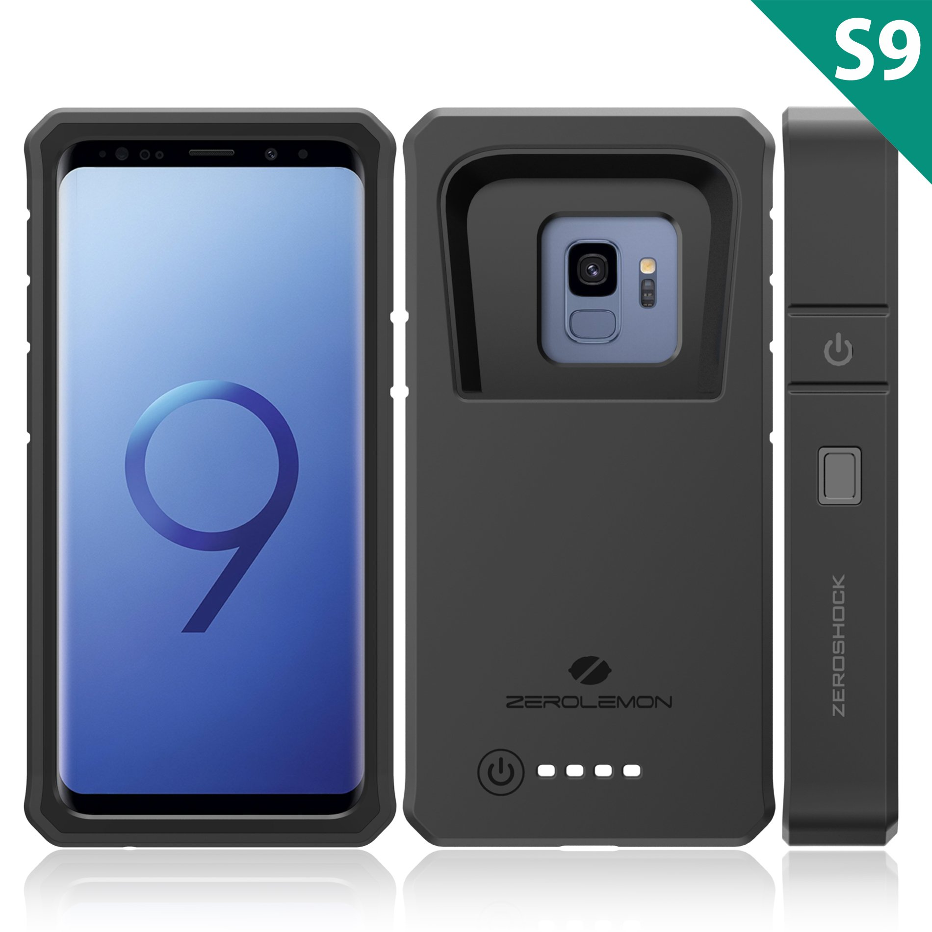Galaxy S9 Battery Charging Case, ZeroLemon ZeroShock 8000mAh Extended Battery with Full Edge Protection Rugged Charging Case for Samsung Galaxy S9 - Black