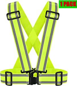 The IDOU High Visibility Reflective Safety Vest | Lightweight,Adjustable & Elastic | Hi Vis Reflective Running Gear for Running,Jogging,Dog Walk,Cycling,Construction Workers,Motorcycle,Men,Women