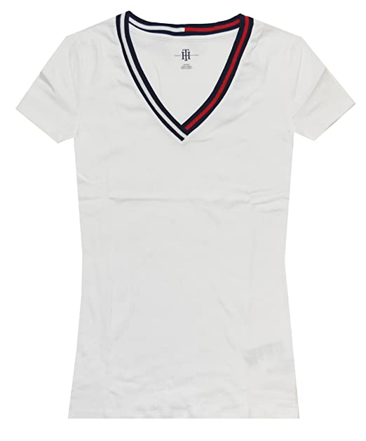 ba80bdbe Tommy Hilfiger Women Signature Short Sleeve V-Neck Logo Tee at Amazon  Women's Clothing store: