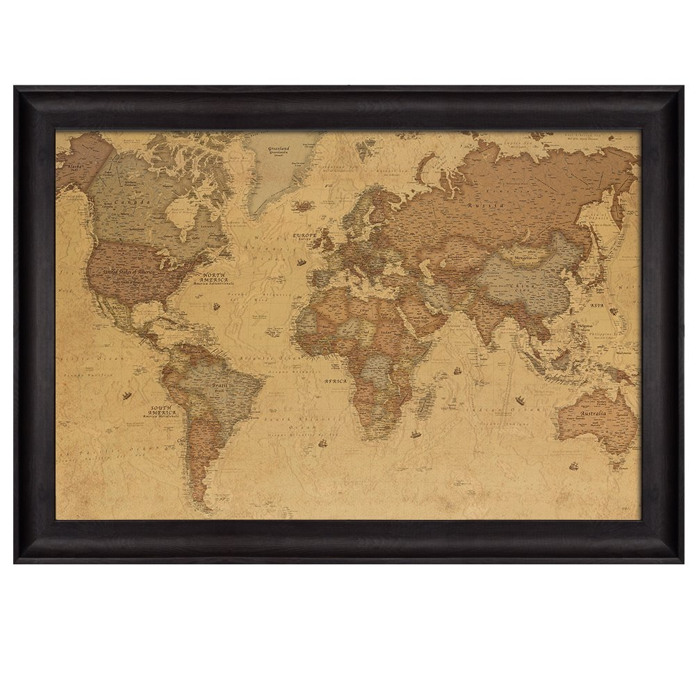 Superb Antique World Map In A Sepia Color Scheme Framed Art
