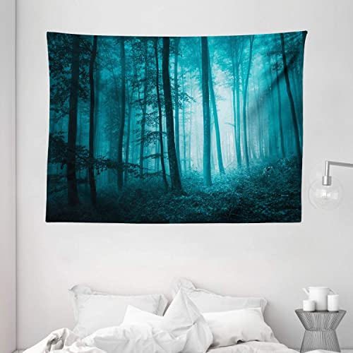 Ambesonne Mystic Tapestry, Magic Foggy Dark Forest Foliage Landscape Countryside Monochromic Art Print, Wide Wall Hanging for Bedroom Living Room Dorm, 80 X 60 , Teal Blue