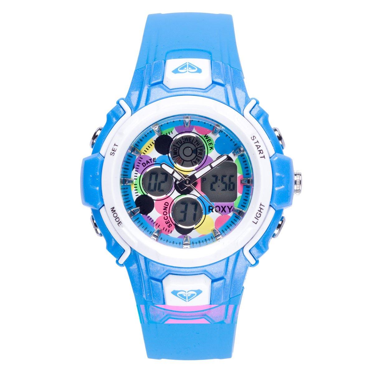 Roxy W216AR 12T - Reloj analógico - digital de mujer de cuarzo con correa de plástico azul (alarma, luz, cronómetro, cronómetro): Amazon.es: Relojes